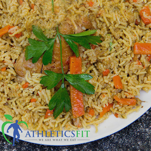 Mediterranean Chicken Rice Pilaf with Tzatziki Sauce and Pickles