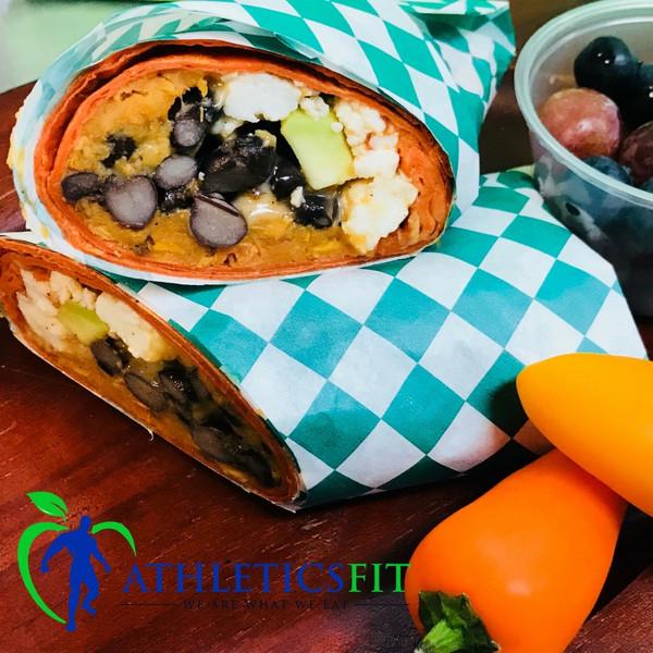 Healthy sweet potato & black beans breakfast burrito