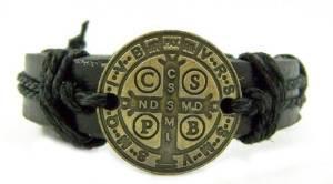 Bronze Tone Saint Benedict Leather Bracelet