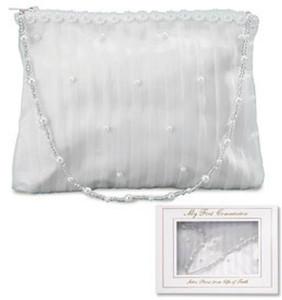 "Girls First Communion Gift 5"" White Satin Stripe Pearl Tote Purse Keepsake Handbag with Gift Box"
