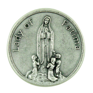 Blessed Virgin Mary Our Lady of Fatima Silver Plated Pocket Token Prayer Coin