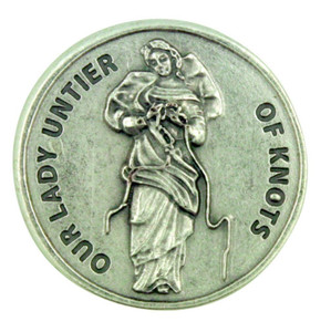 Blessed Virgin Mary Our Lady Untier of Knots Pocket Token Coin with Prayer Back