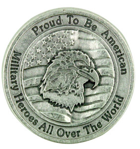 """Proud to Be An American"" Military Protection Pocket Coin with Heroes Prayer"