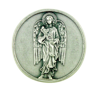 Archangel Saint St Gabriel Silver Plated Pocket Token Coin with Prayer Back