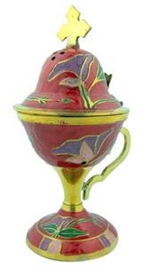 """Sacred Vessal Incense Burner 6 1/2"""" Red Enamel over Brass Censer with Hinged Top"""