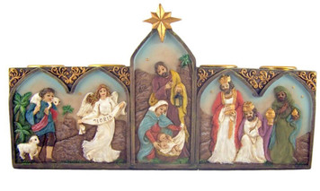 Holy Family with Angels and Wise Men Nativity Advent Candle Holder with Candles