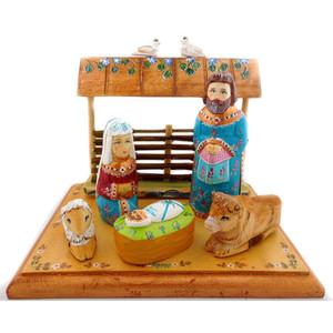 Russian Wooden Nativity Scene Set Christmas Decoration