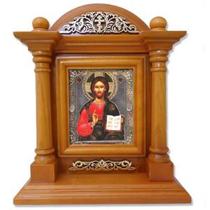 Russian Saint St Nicholas Icon Wood Shrine 9 1/4 Inches
