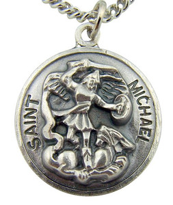 Oxidized Silver Patron of Police Saint St Michael Pendant with Chain, 7/8 Inch
