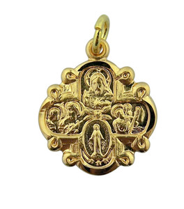 Gold over Sterling Silver 4-Way Medal Cross with Flower Center, 3/4 Inch