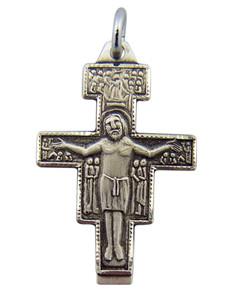 Sterling Silver Saint St Francis San Damiano Cross Crucifix Pendant, 1 Inch