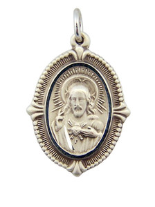 Sterling Silver Sacred Heart of Christ Modern Style Scapular Medal, 1 1/16 Inch