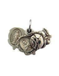 Sterling Silver Triple Slide Rosebud Miraculous and Scapular Multi Medal, 9/16 Inch