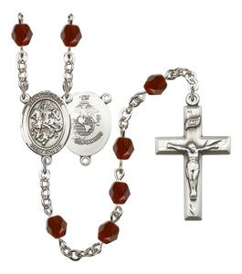 September Birthstone Bead Rosary Bracelet with Saint Joseph Charm, 7 1/2 Inch