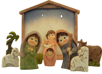 "Christmas Nativity Scene with Stable 9 Piece 7"" Childlike Religious Figurine Set"