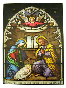"""Set of 12 Stained Glass Nativity Scene 10"""" Cardstock Advent Calendar w Pull Tabs"""