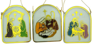 Assorted Pack of 48 Moulded Acrylic Holy Family Dome Nativity Ornament, 2 1/2 Inch
