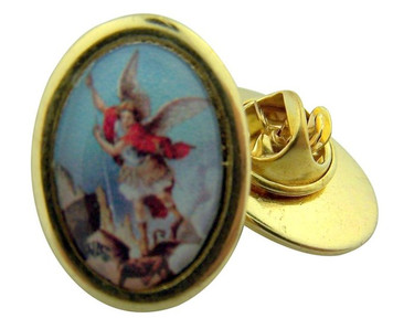 Gold Tone and Epoxy Image Saint Michael Icon Medal Lapel Pin, 1 Inch