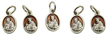 Brown Enamel Saint Padre Pio Pray for Us Medal Charm Pendant, Set of 5, 5/8 Inch