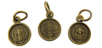 Bronze Tone Saint Benedict of Nursia Medal Charm, Lot of 3, 1/2 Inch