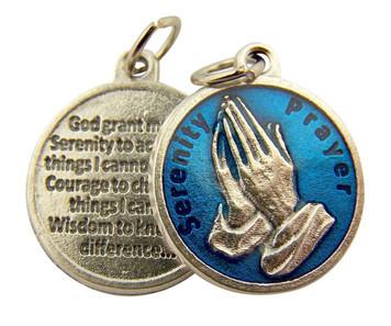 Blue Enamel Praying Hands Medal with Serenity Prayer Back, 3/4 Inch