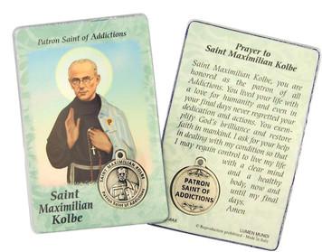 "Laminated Catholic Saint Maximillian Kolbe 3 3/8"" Holy Prayer Card with Medal"