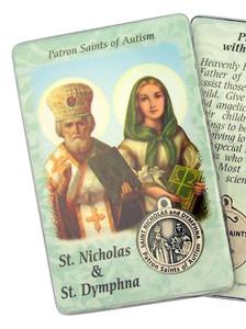 "Laminated Catholic Saint Nicholas and St Dymphna 3 3/8"" Holy Prayer Card w Medal"