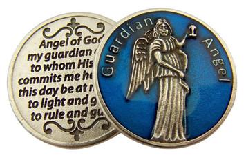 Blue Enamel Guardian Angel Pocket Token with Prayer, 1 1/8 Inch