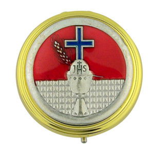 """Gold Plate 2 1/4"""" Eucharist Pyx with JHS Chalice and Blue Enamel Cross Medal"""