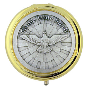 Gold Plate Eucharist Pyx with Silver Tone Come Holy Spirit Medal, 1 7/8 Inch
