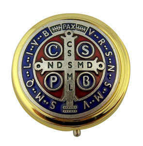"""Gold Plate 1 7/8"""" Eucharist Pyx with Red and Blue Enamel Saint Benedict Medal"""