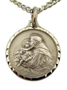 French Nickel Silver Catholic Patron Saint Anthony Medal Pendant, 1 Inch