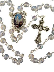 "Acrylic Prayer Bead 17"" Rosary w Catholic Our Lady of Fatima Medal Centerpiece"