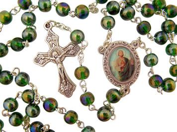 "Acrylic Prayer Bead 17"" Rosary with Catholic Saint Jude Medal Centerpiece"