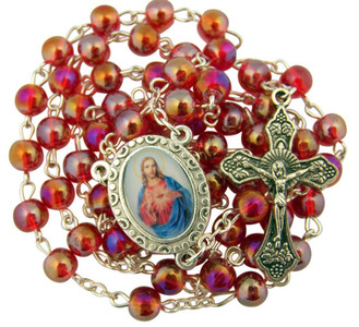 """Acrylic Prayer Bead 17"""" Rosary with Sacred Heart of Jesus Medal Centerpiece"""