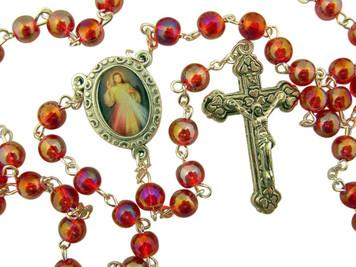 Acrylic Prayer Bead Rosary with Catholic Divine Mercy Medal Centerpiece, 17 Inch