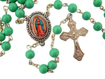 """Acrylic Prayer Bead 17"""" Rosary with Our Lady of Guadalupe Medal Centerpiece"""