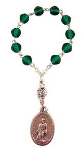 Acrylic Green Prayer Bead Saint Peregrine 3 Inch One Decade Rosary