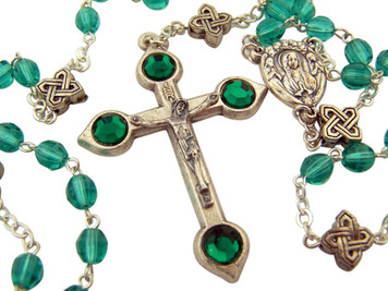 Acrylic Bead 18 1/2 Inch Rosary with Celtic Knot Our Father Prayer Beads