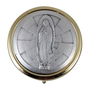 """Gold and Silver Tone Our Lady of Guadalupe 2 1/4"""" Catholic Communion Pyx"""