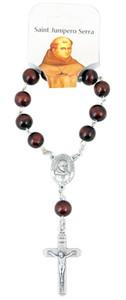 "Wooden Prayer Bead One Decade 6"" Rosary with Saint Junipero Serra Centerpiece"