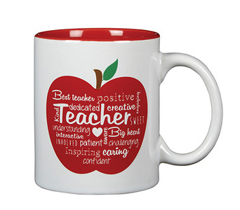 Word Art Ceramic Teacher Coffee Mug with Chalkboard Message, 11 oz