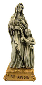 Pewter Saint St Anne Figurine Statue on Gold Tone Base, 4 1/2 Inch