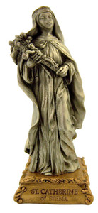Pewter Saint St Catherine of Siena Figurine Statue on Gold Tone Base, 4 1/2 Inch