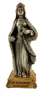 Pewter Saint St Elizabeth of Hungary Figurine Statue on Gold Tone Base, 4 1/2 Inch