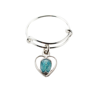Ladies Sterling Silver Bangle Ring with Blue Enamel Heart Miraculous Medal Charm, One Size