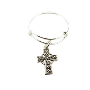 Ladies Sterling Silver Bangle Ring with Celtic Cross Medal Charm, One Size