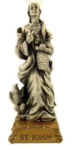 Pewter Saint St John the Evangelist Figurine Statue on Gold Tone Base, 4 1/2 Inch