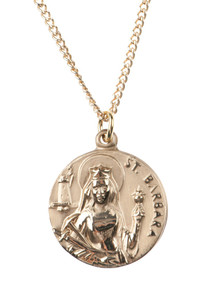 12kt Gold Filled Dime Size Saint Barbara Medal, 3/4 Inch
