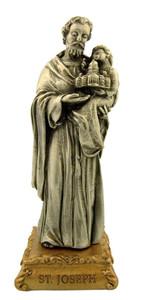 Pewter Saint St Joseph Figurine Statue on Gold Tone Base, 4 1/2 Inch